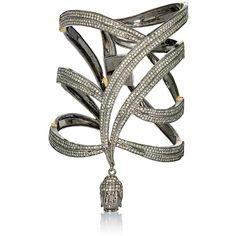 Carole Shashona Women's Pave Black Diamond Goddess Cuff (€8.430) ❤ liked on Polyvore featuring jewelry, bracelets, colorless, 14k bangle, pave bangle, clasp charms, 14 karat gold charms and black diamond bangle