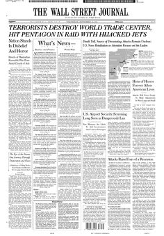 9/11: WSJ front page, Sept. 12, 2001