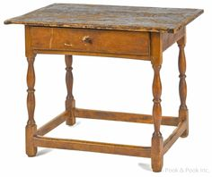"Diminutive New England pine and maple tavern table, ca. 1770, 23 3/4"" h., 29"" w., 20 1/4"" d."