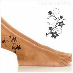 Temporary Tattoo Flower Waterproof Fake Tattoo Thin Durable - Temporary Leg Tattoo, trending tattoos, Flower Leg Tattoos, Fake Tattoos La mejor imagen sobre home - Flower Leg Tattoos, Cute Ankle Tattoos, Fake Tattoos, Mom Tattoos, Wrist Tattoos, Trendy Tattoos, Body Art Tattoos, Small Tattoos, Tattoos For Women