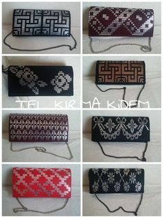 Super cute evening hand bags featuring examples of the Turkish Tel Kirma embroidery technique, the cousin/ancestor of Egyptian assiut - assuit - asyut - tulle bi telli Plastic Canvas Stitches, Plastic Canvas Coasters, Plastic Canvas Crafts, Plastic Canvas Patterns, Leather Bags Handmade, Handmade Bags, Clutch Bag, Diy Clutch, Palestinian Embroidery