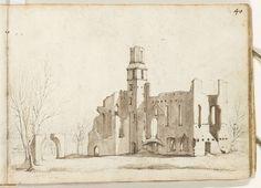 Gerard ter Borch (II) | Huis Kranenburg, vanuit het westen gezien, Gerard ter Borch (II), c. 1633 - c. 1634 | De ruïne van Huis Kranenburg ligt ten noordoosten van Zwolle, bij Berkum. Blad genummerd: 40.