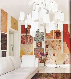 this aboriginal art Aboriginal art, paper chandelier, fantastic. Kunst Der Aborigines, Aboriginal Painting, Encaustic Painting, Abstract Paintings, Estilo Tropical, New Wall, Cool Walls, Home And Living, Modern Living