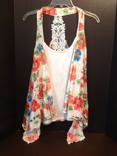 Womens White Multi Floral Tank Mock Vest One Piece Lace Back Extra Large Boho #NoBoundaries #TankCami