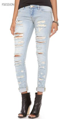 Distressed Straight Leg Jeans, Blank Denim  only at http://tllg.net/5lrt Price: $55.20 A deconstructed pair of Blank Denim jeans, rendered in a faded wash. Shredded holes and distressed edges provide a vintage feel. 5-pocket styling. Single-button closure and zip fly. http://www.fsession.com/