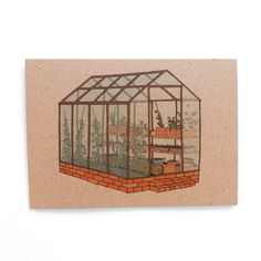 Greenhouse 100% recycled card, by Kate Broughton via Folksy, £2.50