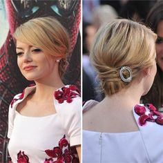 Emma Stone's updo is totally doable with short hair. Just pull everything back into a ponytail, leaving a few pieces free to crisscross over the hair elastic. #shorthair #updos