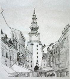 13. apríla 2013. michalská veža. grafitová tuha. Ateliér Vytfit.