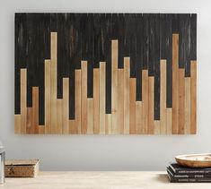 Mixed Wood Wall Art - - Like asymmetrical piano keys, this two-toned wall art hits all the high notes. It's crafted of exquisite teak that's highlighted in natural and black finishes to create harmony and inspire creativity. Wooden Wall Decor, Wooden Art, Wooden Walls, Wall Wood, Large Wood Wall Art, Unique Wall Decor, Wooden Wall Bedroom, Scrap Wood Art, Wood Wall Design