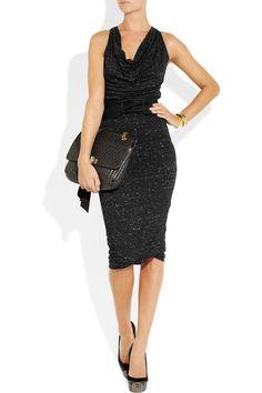 c971e944e09 Donna Karan - Black Belted Stretch Jersey Dress - Lyst