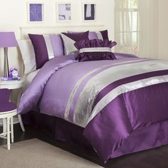 90631, Twin Bedding Sets purple and green   Lush Decor Jewel 5-Piece Comforter Set, Twin, Purple
