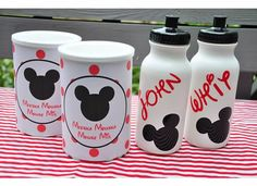Disney decorated snack containers...woud be so cute for our roadtrip snacks!
