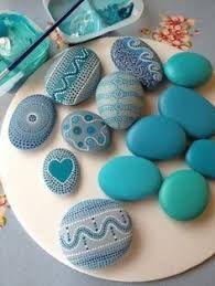 Rock crafts - Pretty Painted Rocks maritime motifs of blue stones paint Pebble Painting, Dot Painting, Pebble Art, Stone Painting, Pebble Stone, Painting Tips, Stone Crafts, Rock Crafts, Arts And Crafts