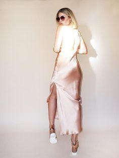PINK SILK SLIP Dress   Maxi Length Rose Champagne by CloudHunterCo