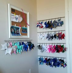 Our cheer bow organizer. Cheer bow holder. No more bent tails!