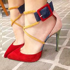 Pointed Toe Buckle Suede Stiletto Heels