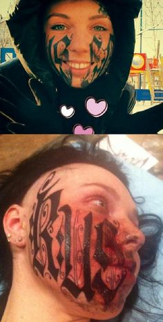 hmmm.....Beautiful Russian girl has boyfriends name tattooed on her face after being together for one week...click the link to see what she looked like before...Either this guy has a lot of money, or a big dick, cuz that's  a fucked up commitment after one week....