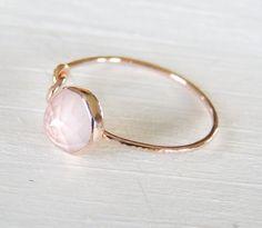 Anello quarzo rosa oro rosa anello Infinity nodo di Luxuring