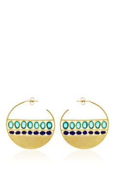 Emerald Marine Creole Pierced Earrings by Gripoix for Preorder on Moda Operandi