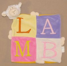 Baby Connection Yellow Lamb Pink Block Letters Square Security Blanket Lovey #BabyConnection