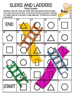 Teaching shapes to kindergarten is part of many standards based curriculums. I wanted to share creative ways for teaching shapes in kindergarten. Geometry Activities, Math Activities, Math Games, 3d Shapes Activities, Geometry Games, Preschool Games, Fun Games, Teaching Resources, Teaching Shapes