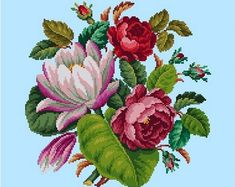 Vintage Bouquet Roses and Red Waterlily Flowers Cross Stitch Pattern PDF Berlin Woolwork Pattern Antique Needlepoint Tapestry Victorian Cross Stitch Bird, Simple Cross Stitch, Cross Stitch Flowers, Cross Stitch Patterns, Easy Cross, Mandala Art, Black And White Flower Tattoo, Black And White Printer, Tent Stitch