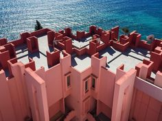 La Muralla Roja, Calpe, Spain. Alicante regiob of Spain, is in fact a complex of 50 apartments, built in 1973 & designed by architect Ricardo Bofill