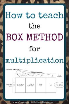 Elementary teachers and parents, the BOX METHOD is a commonly used Common Core multiplication strategy. Read more to find examples, how the strategy utilizes place value, and a game for teaching the box method. http://www.elementarymathconsultant.com/teaching-box-method-multiplication/