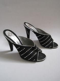 Vintage 1970s Black & Silver Suede Open Toe Mules With Diamantes from Virtual Vintage Clothing