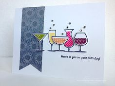 Stamps- Happy Hour; Paper- Whisper White, Twitterpated designer paper; Ink- Basic Grey, Old Olive, Daffodil Delight, Pumpkin Pie, Melon Mambo, Rich Razzleberry; Accessories- rhinestones, dimensionals