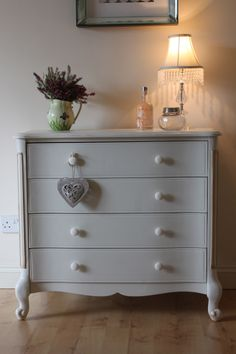 Pretty French style chest of drawers painted in Farrow and Ball James White…..stunning in the right setting.