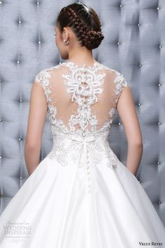 veluz reyes wedding dresses 2014 ready to wear marina gown illusion cap sleeves back close up