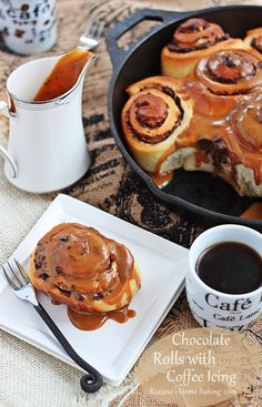 Soft buttery brioche rolls filled with chocolate and drizzled with coffee cream cheese icing. Great at breakfast time with a cup of tea/coffee or even with some cold milk