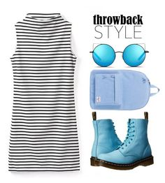 """Blue Dr. Martens"" by giorgia-111 ❤ liked on Polyvore featuring Dr. Martens, Herschel Supply Co. and Matthew Williamson"