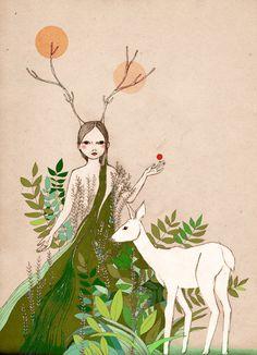 Mate Edition Print Original illustration Woodland  deer girl Mori Girl. via Etsy.