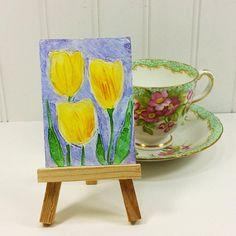Yellow Tulips Miniature Art, Spring Flower Garden Textured Painting ACEO