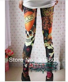 Women Vintage Colorful skull/bones/Leopard grain/leopard head/skeleton Graffiti Skinny Jeans Pants/Leggings FREE SHIPPING