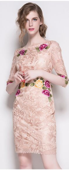 Apricot Half Sleeves Embroidered Dress