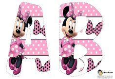 EUGENIA - KATIA ARTES - BLOG DE LETRAS PERSONALIZADAS E ALGUMAS COISINHAS: Alfabeto minnie rosa Minnie Mouse Party, Mouse Parties, Mickey Mouse, Paper Crafts For Kids, Diy And Crafts, Mickey E Minie, Diy Letters, Mini Mouse, Kids Cards