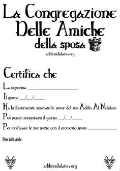 Certificato per addio al nubilato La congregazione delle amiche della sposa #addionubilato #addioalnubilato