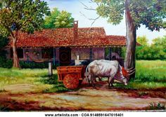 casa dos Costa Rica, Country Crafts, Latin America, Kentucky, Nostalgia, Animation, Horses, Landscape, Painting