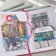 Watercolor Sketchbook, Art Sketchbook, Watercolor Illustration, Watercolor Art, Art Sketches, Art Drawings, Architecture Drawing Sketchbooks, Art Manga, Guache