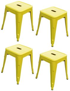 """""""Toledo"""" Replica Tolix Table Stool in Yellow (Set of 4) – Simply Bar Stools"""