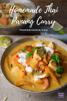 A creamy and aromatic Thai Panang Curry made with juicy chunks of chicken, crushed peanuts and a sweet Thai yellow curry paste. The spice in this Thai panang curry is balanced out with cool yogurt and sweet coriander, and it can be ready and on the table in just 30 minutes. Thai Panang Curry, Panang Curry Recipe, Massaman Curry Paste, Thai Curry Recipes, Fish Recipes, Chicken Recipes, Sweets Recipes, Vegetarian Fish Sauce, Yellow Curry Paste