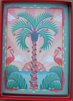 90 s Vintage Paper Moon Graphics Box of 8 Hawaiian Xmas Cards Flamingo Tiki  | 1995