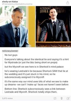 "I actually think it's cause Sherlock wanted mycroft to be at the wedding so he placed him in ""wedding attire"""
