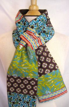 Womens Patchwork Loop Scarf Blues and Brown by magicalscraps