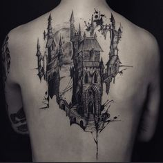 Fantastic castle back tattoo by Nadi!