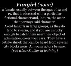Fangirl defined. However, it is always more than just one fictional character. see also: ships, fictional worlds, and cosplay