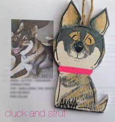 Upright Ears Custom Dog Ornament or Magnet Closed by CluckandStrut
